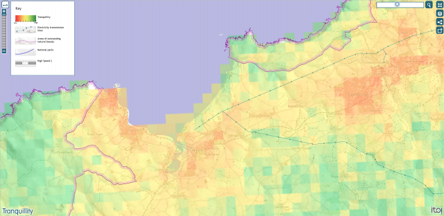 Tranquillity map - Hayle, Angarrack, Connor Downs, Gwithian 2015